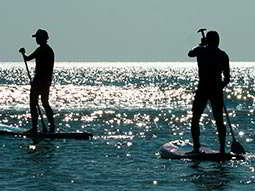 Two people on paddleboards in the sea