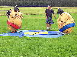 Two people wearing large sumo suits facing each other in a field