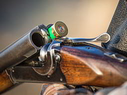 A green cartridge in a shotgun barrel