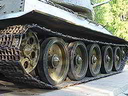 Close up on a tanks treads