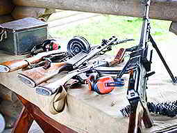 Various guns on a table