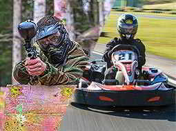 A split image of a man aiming a paintball gun and a go kart on an outdoor track