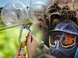 A split image of inflatable zorbs, a carabiner being attached to a cable, a muddy quad bike and rider, and a man wearing a paintball mask