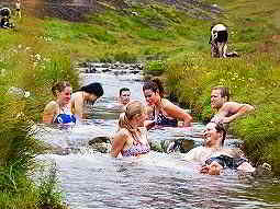 A group of people bathing in a stream surrounded by tall green grass