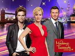 Wax figures of Kate Winslet, Robert Pattinson and David Beckham at Madame Tussauds in London