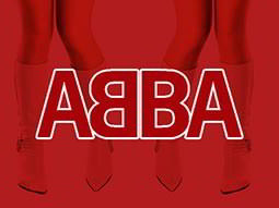 Red and white ABBA text on a red background, over a close up image of white go go boots