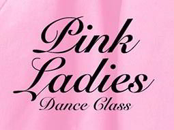 Black Pink Ladies dance class text over a pink background