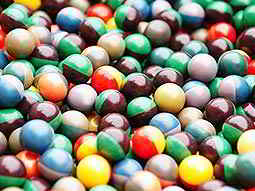 A large amount of multicoloured paintballs