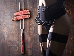A split image of two pieces of steak on a fork and a woman's body wearing black lingerie
