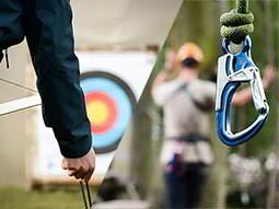 A split image of a person holding a bow and arrows with a target in the distance, and a carabiner hanging from a rope
