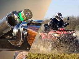 Split image of a cartridge in a shotgun barrel, and a man driving a quad bike in a field