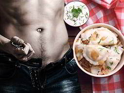 A split image of a bowl of traditional Polish dumplings and a mans torso, whipping his belt off