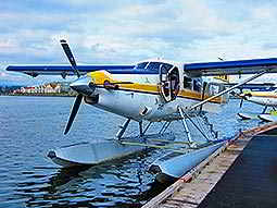 A waterplane at the side of the harbor
