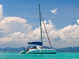 A catamaran in the sea