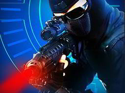A man in black overalls and mask, aiming with a laser gun