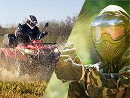 Split image close up of someone driving a quad bike through mud, and a man in a paintball mask and aiming with a paintball gun