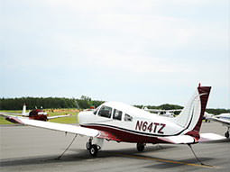 A small plane on the runway