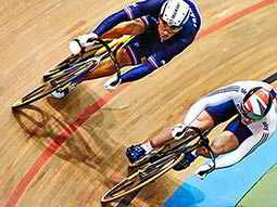 Two cyclists on the track at the Olympic Velodrome