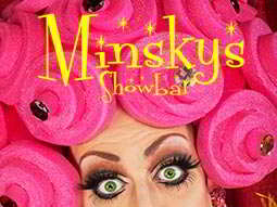 Minksy's Showbar logo, with a drag queen with false lashes and pink rollers