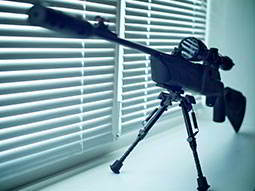 A gun set up on a windowsill, behind a blind