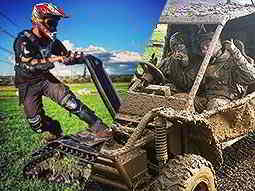 Split image of a man driving a DTV Shedder in a field, and two people in a mud covered quad bike