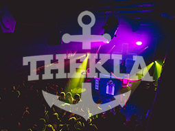 Thekla anchor logo to a backdrop of people partying