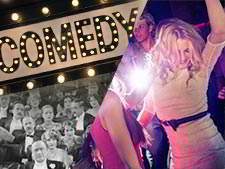 Comedy sign with light, split with a a blonde woman dancing