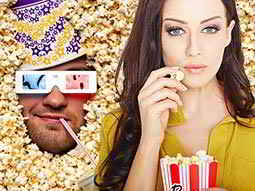 A split image of a mans face submerged in popcorn and a girl eating popcorn from a cardboard packet
