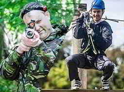 Split image of a man aiming with a laser gun and a man on a zip wire