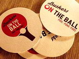 Buskers on the Ball branded beer mats