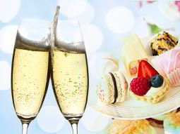 A split image of two glasses of champagne being clinked together and a filled cake stand