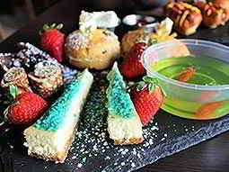 Freaky afternoon tea - featuring cakes, cones and jelly in a fish bowl