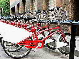Line of red bikes parked up