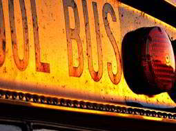 Yellow school bus sign
