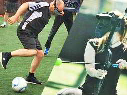 A split image of a man playing goggle football and a woman playing battlezone archery