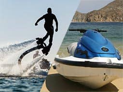 Split image of a man on a Jet-Lev, and a Jet Ski on the shore of a beach