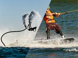 Split image of a man on a Jet-Lev, and a man cable skiing