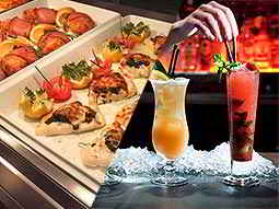 A split image of food in white trays and two cocktails