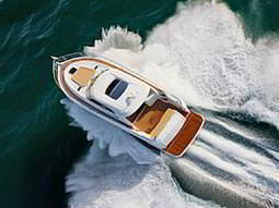 Birds eye view of a boat sailing in the sea
