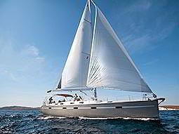 A yacht sailing on the sea