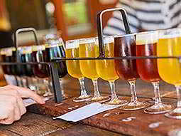 A sample rack of beers and ales