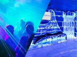 Split image of people dancing in a club to a backdrop of blue light, and the interior of Barcelona ice bar