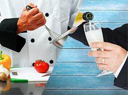 Split image of a man in chef's whites, whisking on top of a chopping board, and a man's hands pouring champagne into a flute