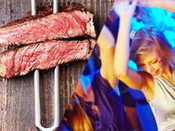 Split image of two pieces of meat on a skewer, and women dancing in a club