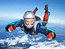 A man skydiving