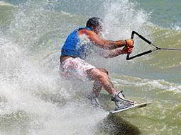 A mna waterskiing in the sea