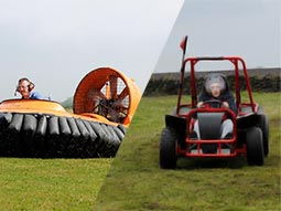 A hovercraft being driven and a rage buggy driving through a field