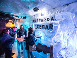 A beer pump made of ice in the Ice Bar in Amsterdam