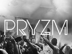 A black and white image of people dancing overlaid with the Pryzm logo