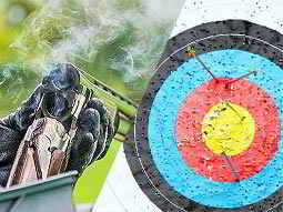 A split image of an over/under double-barreled shotgun cracked open and smoking and an archery target with arrows in it